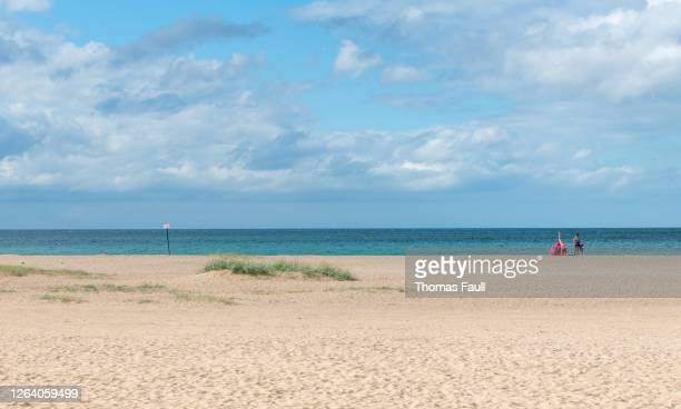 on the beach in ouistreham, france - ouistreham stock pictures, royalty-free photos & images