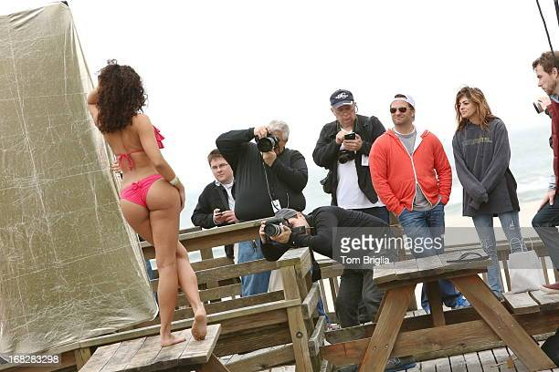 On the beach in South Jersey with The Philadelphia Eagles Cheerleaders shooting their 2014 Calendar Photographer Dom Savini of Philadelphia PA is...