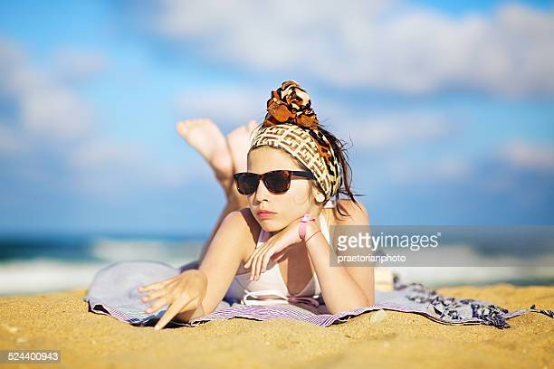 on the beach - kids swimsuit models stock pictures, royalty-free photos & images