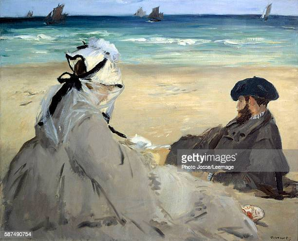On the beach Suzanne Manet wife of the artist and Eugene the painter's brother on the beach at Berck sur Mer Painting by Edouard Manet Summer 1873...