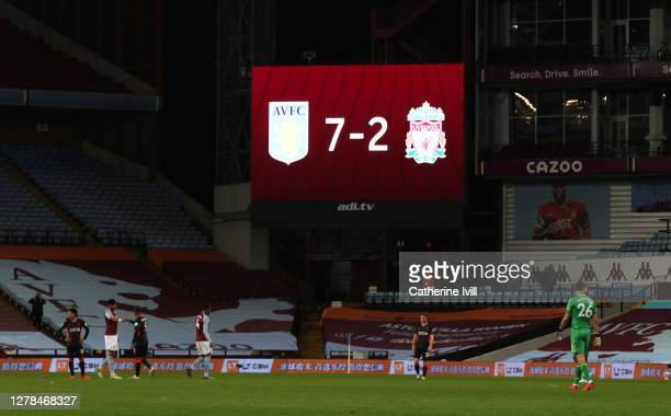 On the big screen the final score of 7-2 is shown during the Premier League match between Aston Villa and Liverpool at Villa Park on October 04, 2020...
