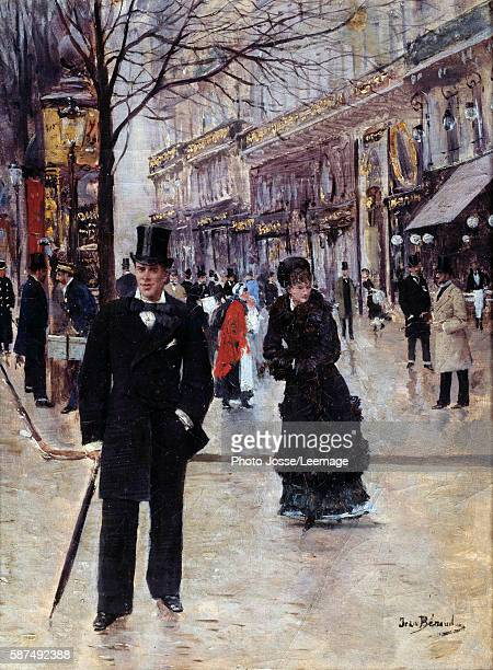 On the Boulevard. Parisian scene during La Belle Eopque. On the left, a Morris Column. Painting by Jean Beraud , 19th century. 0,33 x 0,25 m....