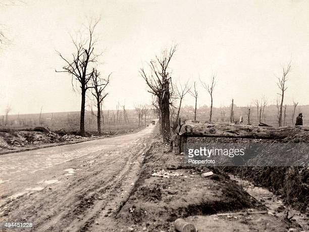 On the Cambrai Road looking toward Arras on the Western Front during World War One, circa 1918. The Western Front was a meandering line of fortified...