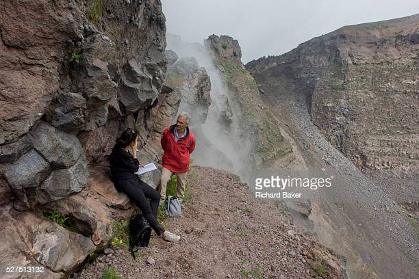 On the crater edge of the Vesuvius volcano Italy writer Polly Morland interviews volcanologist with the Osservatorio Vesuviano Giuseppe Mastrolorenzo...