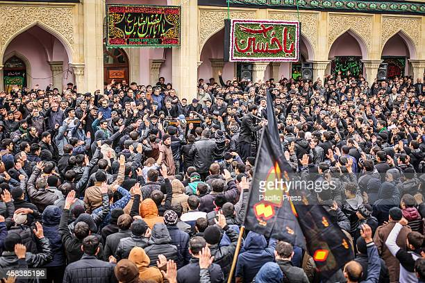 On the day of Ashura traditionally one of the most crowded mourning ceremonies is held in the Nardaran shrine About 10 thousand people locals...