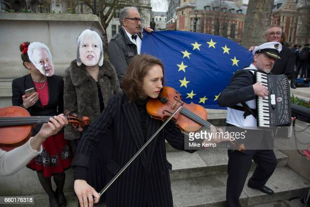 On the day that Article 50 was invoked to start the process of Brexit from the European Union protesters gather in Westminster to show their...