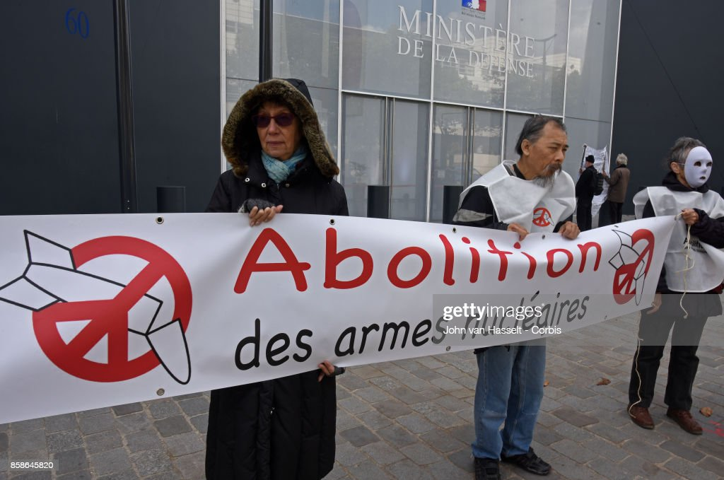On the day that the International Campaign Against Nuclear Weapons (ICAN) were announced as winners of the Nobel Peace Prize, members of its French branch protest against nuclear weapons outside the French Ministry of Defence on October 6, 2017 in Paris, France. The group protests outside the Ministry of Defence on the first Friday of every month.