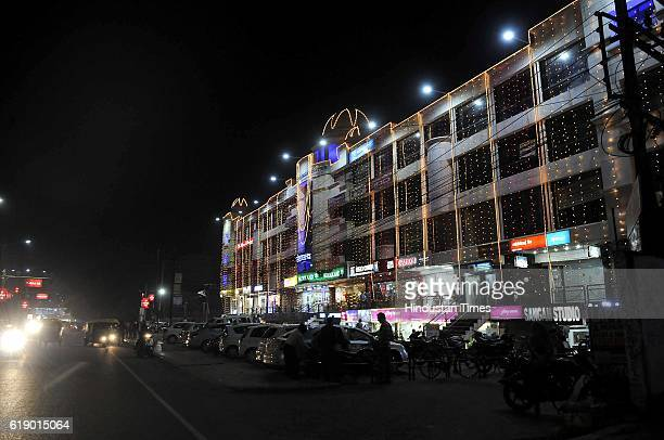 On the eve of Diwali shopping malls and public places light up to mark the start of festivities on October 28 2016 in Indore India Diwali is one of...