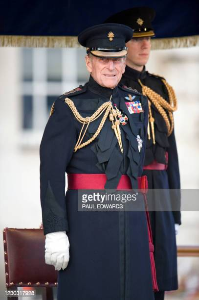 On the eve of his 90th birthday, Prince Philip, the Duke of Edinburgh, Senior Colonel, prepares for the Salute at the Household Division Beating...