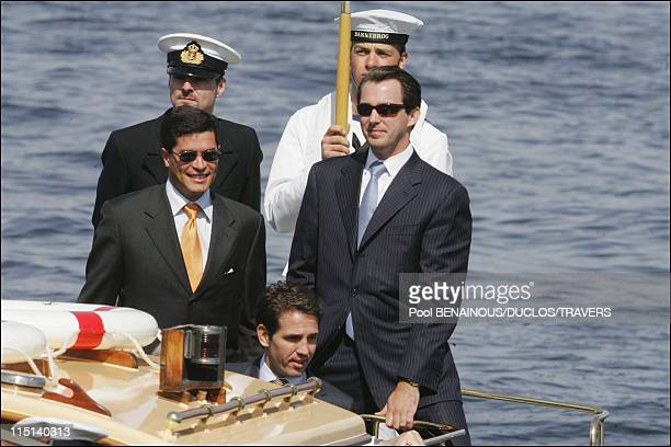 On the eve of Prince Frederik and Mary Donaldson's wedding after lunch on the Royal Yacht in Copenhagen Denmark on May 13 2004 Carlos Morales Prince...