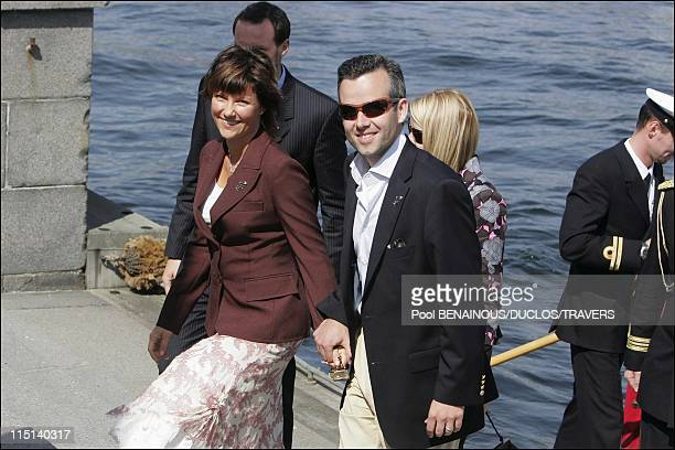 On the eve of Prince Frederik and Mary Donaldson's wedding after lunch on the Royal Yacht in Copenhagen Denmark on May 13 2004 MarthaLouise and...