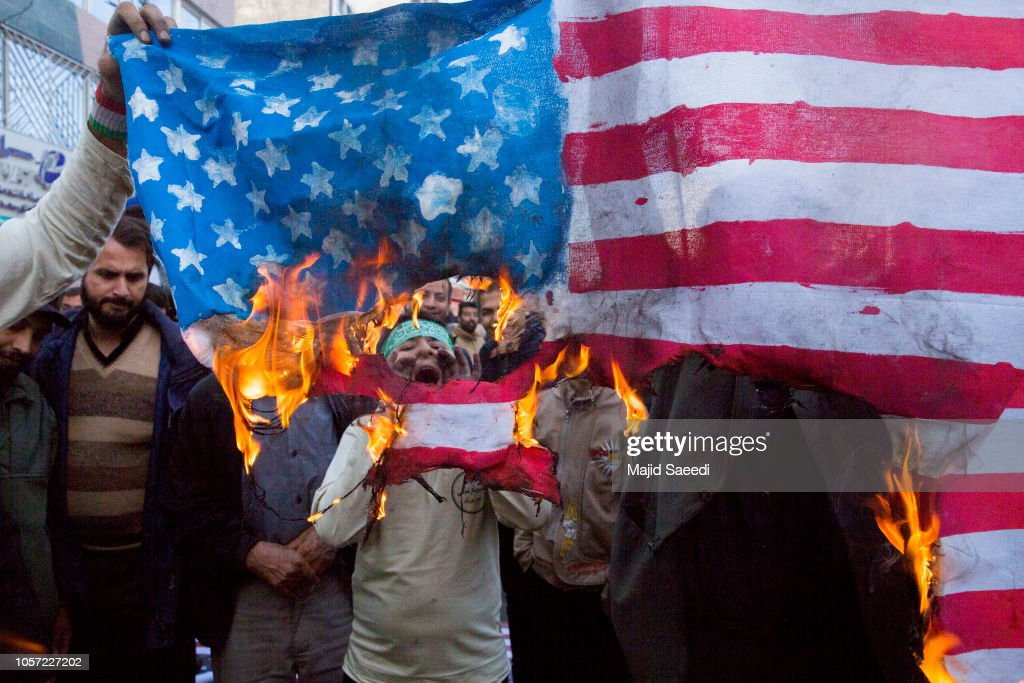 Anti-US Protest in Iran on Eve of New Sanctions : News Photo
