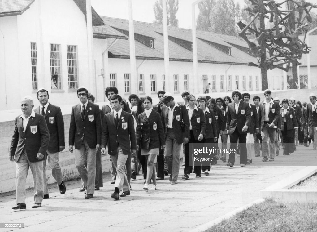 On the eve of the start of the Munich Olympics, the Israeli team visits the site of the concentration camp at Dachau in southern Germany, 25th August 1972. Eleven members of the team were later killed in a terrorist attack at the Games on 6th September.