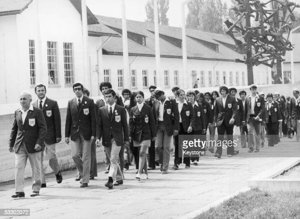 On the eve of the start of the Munich Olympics the Israeli team visits the site of the concentration camp at Dachau in southern Germany 25th August...