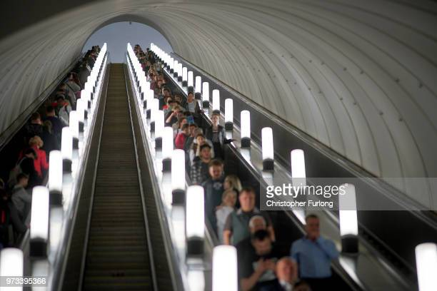 On the eve of the World Cup Moscovites travel on the Metro on June 13 2018 in Moscow Russia On the eve of the first game of the World Cup it was...