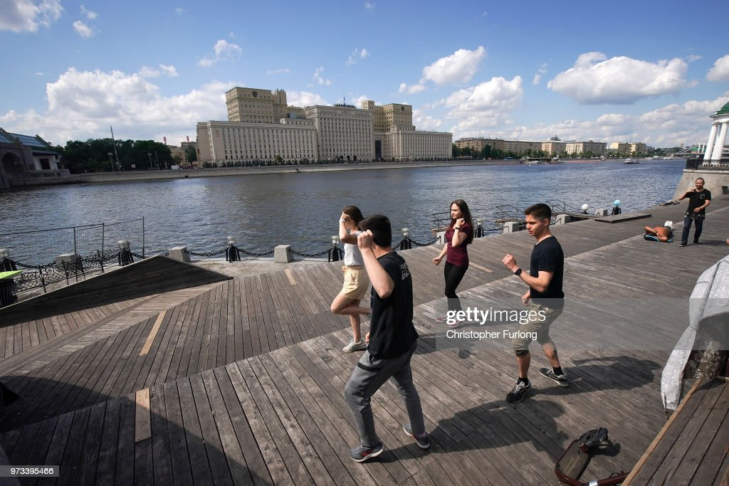 On the eve of the World Cup people relax and dance on the banks of the Moskva River on June 13, 2018 in Moscow, Russia. On the eve of the first game of the World Cup it was announced that the 2026 World Cup will be held in the United States, Canada and Mexico. FIFA expects more than three billion viewers for the World Cup which begins tomorrow.