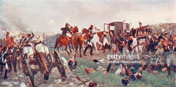 On the Evening of the Battle of Waterloo. After a painting by Ernest Crofts. The painting shows Napoleon leaving the battle field after the defeat of...