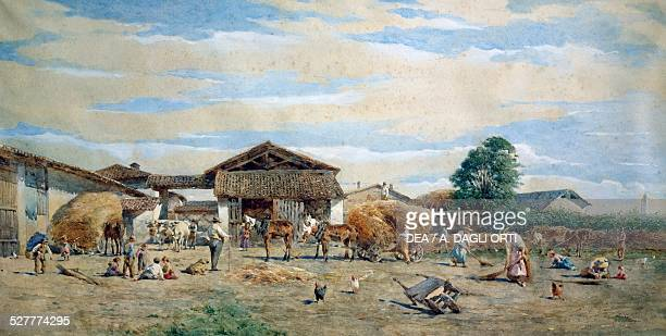 On the farmyard by Enrico Bartesago Italy 19th century Monza Musei Civici