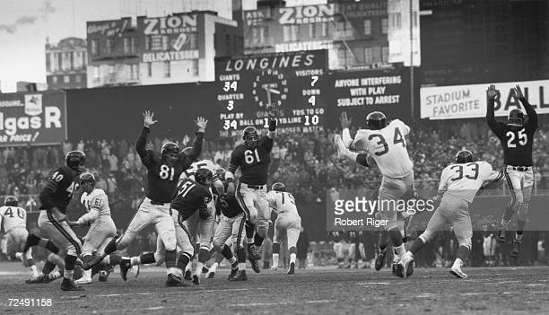 On the field action between the Chicago Bears and the New York Giants during the championship game at Yankee Stadium Bronx New York New York December...
