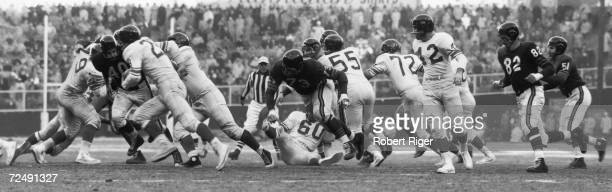 On the field action between the Chicago Bears and the New York Giants at Yankee Stadium Bronx New York New York late 1956 The two teams played twice...