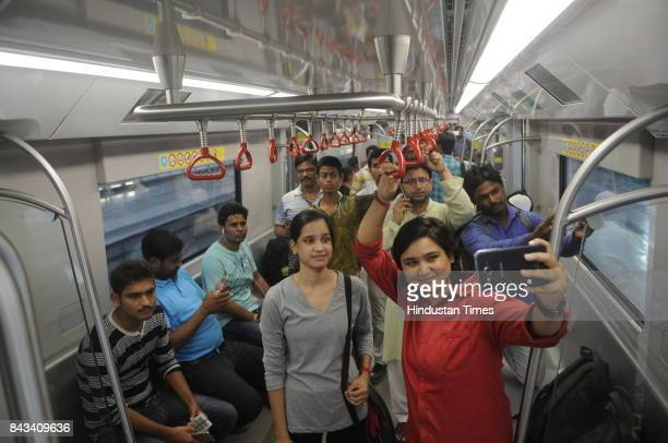 On the first day of the commercial run of Lucknow Metro hundreds of people boarded the first ride of the day from Charbagh to Transport Nagar Metro...