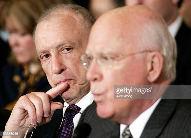 On the first day of the John Roberts confirmation hearings Judiciary Committee Chairman Sen Arlen Specter listens as ranking Democrat Sen Patrick...
