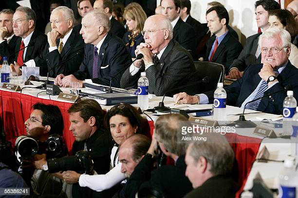 On the first day of the John Roberts confirmation hearings, Judiciary Committee members listen to opening remarks September 12, 2005 in the historic...