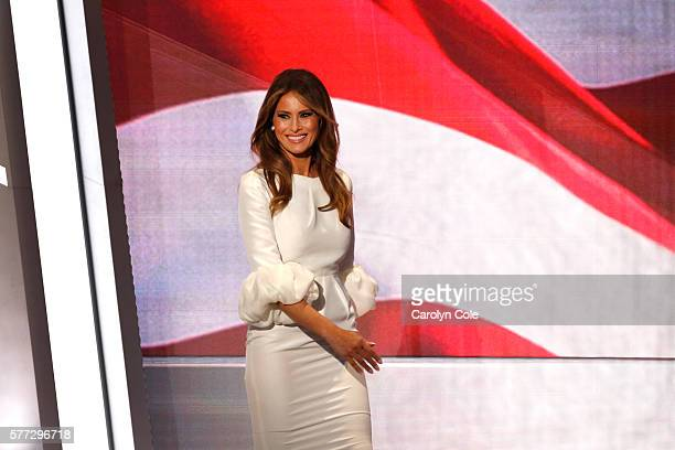 On the first night of the Republican National Convention Melania Trump enters the stage before speaking in Cleveland OH on July 18 2016