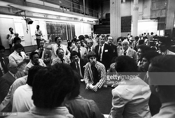 On the floor of the New York Mercantile Exchange brokers trade on potato futures New York New York May 1976