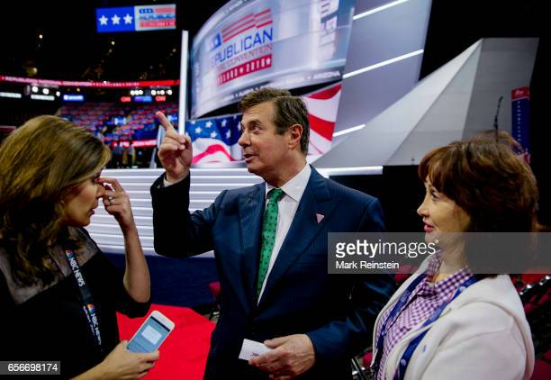 On the floor of the Quicken Arena before the Republican National Convention American broadcast journalist Hallie Jackson of NBCTV speaks with...