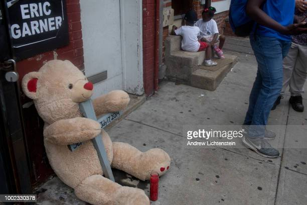 On the fourth anniversary of Eric Garner's death a small street memorial marks the occasion on July 17 2018 in Staten Island New York City Garner was...