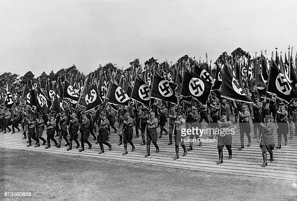 On the fourth day of the Reichsparteitig Nazis marched onto the Zeppelin meadow where Hitler made a proclamation to the officers and party officials
