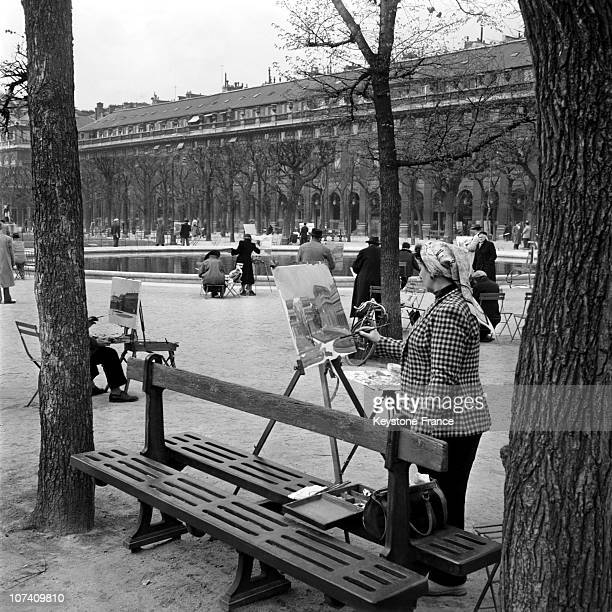 On The Garden Art Painters Take Part Of A Painting Competition The Grand Prix Du Palais Royal On April 18Th 1956