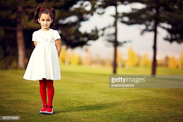 on the golf green - little girls in pantyhose stock pictures, royalty-free photos & images
