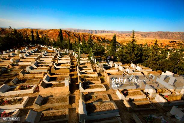 On the heights of Mount Safeen the Chaldean Christian cemetery of the town that was recently renovated by the authorities