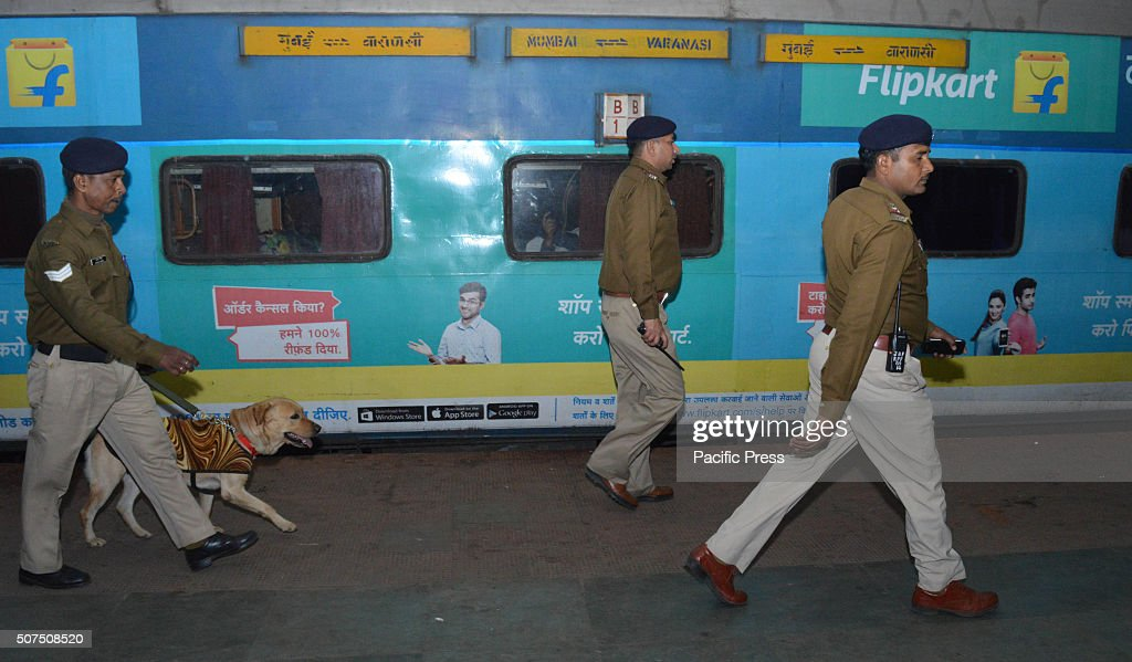 On the information of bomb Railway Police Force officials and bombsquad personnel inspect the railway station and train during high alert Governmen...