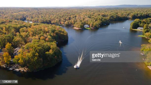 on the lake in autumn - gerville stock pictures, royalty-free photos & images