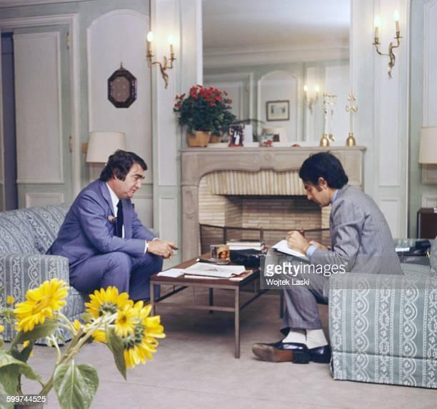 On the left American journalist Pierre Salinger Press Secretary to US Presidents John F Kennedy and Lyndon B Johnson Paris France circa 1978