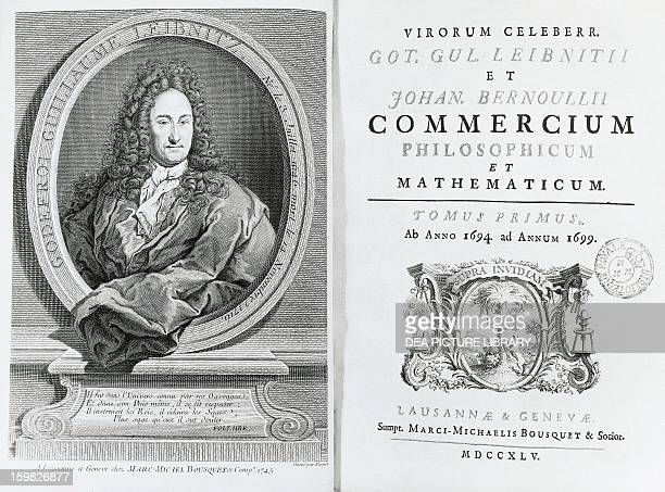 On the left, Gottfried Wilhelm Leibniz , German philosopher and scientist, and, right, the title page for his Treatise on Commercium Philosophicum et...
