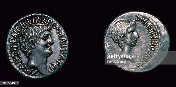On the left is Mark Antony and on the right Octavian/Augustus