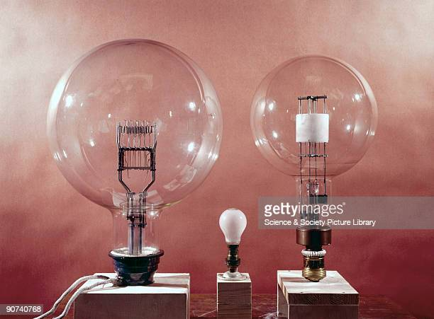 On the left is shown a 10000 watt lamp whose filament differs greatly in shape from the oil or gas flames utilised in earlier lighthouse lamps The...