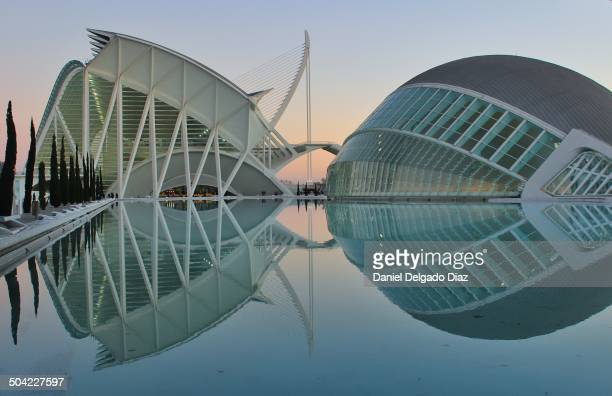 On the left L'Hemisferic is an IMAX Cinema, planetarium and laserium. On the right the Museum of Sciences. The City of Arts and Sciences in Valencia,...