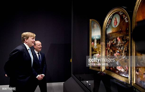 Dutch King WillemAlexander attends the opening of the exhibition 'Hieronymus Bosch Visions of a Genius' at the Noordbrabants Museum in Den Bosch on...