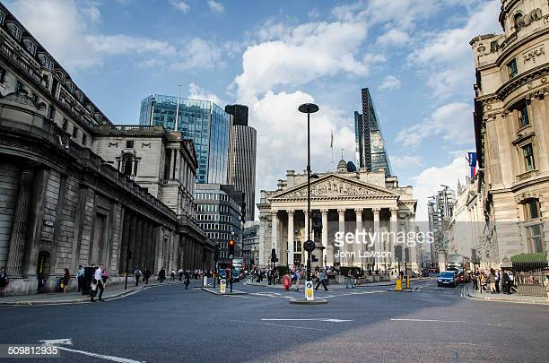 On the left of the image is the Bank of England Building and in the centre is the Royal Exchange Building, the former stock Exchange.