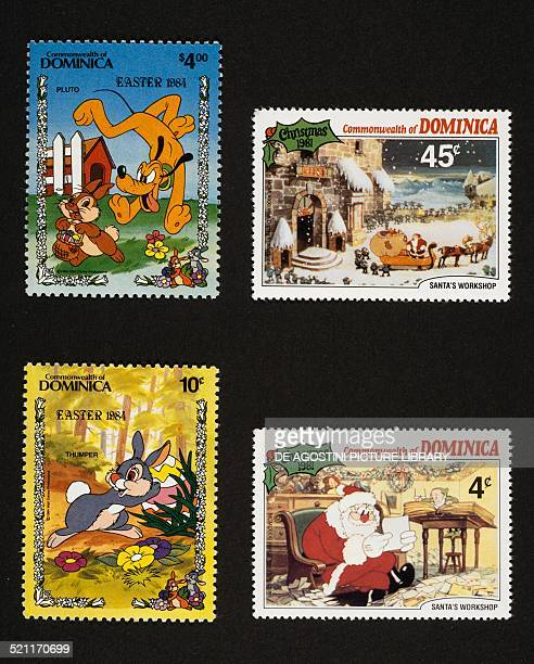 On the left postage stamps from the Easter series Walt Disney characters depicting pluto and rabbit Easter bunny right postage stamp from the Santa's...