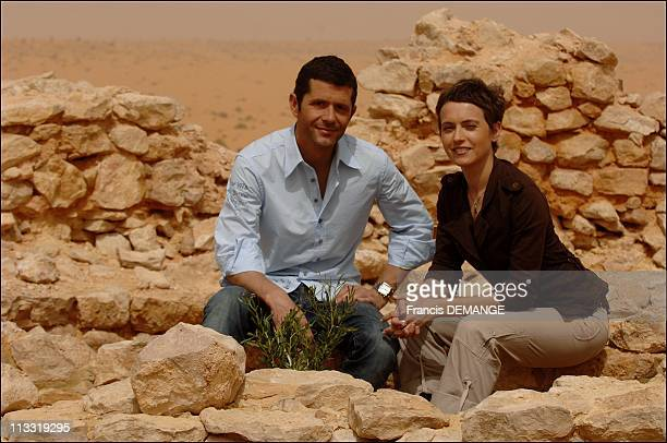 On The Marches Of The Show 'Echappees Belles' In Ksar Ghilane Tunisia On March 15 2007 Stephane Bouillaud and Sophie Jovillard animators of the show...