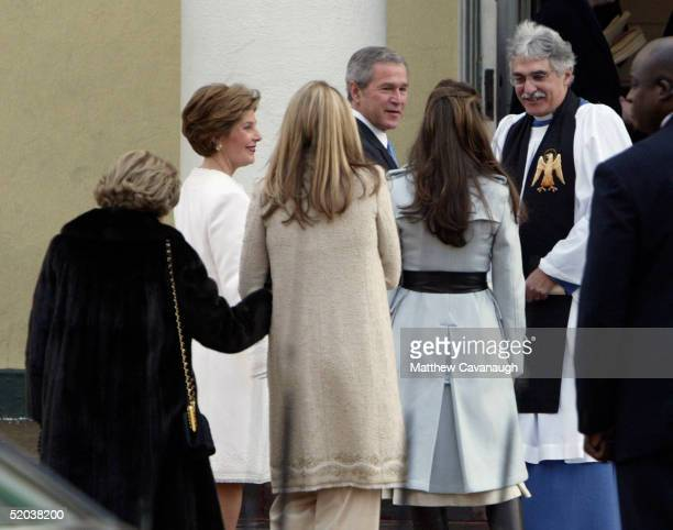 On the morning of his second inauguration US President George W Bush and First Lady Laura Bush attend a Church service with daughters Barbara and...