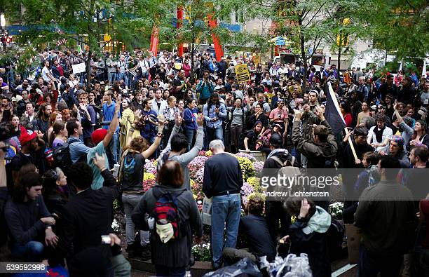 """On the morning that Mayor Bloomberg declared that he was going to clean up Zuccotti Park and ban sleeping gear from the area, the mood at """"Occupy..."""