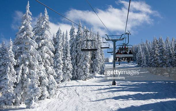 on the mountaintop express at vail - ski lift stock pictures, royalty-free photos & images