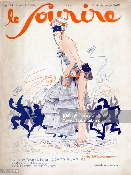 On the occasion of Carnival sexy satire on the cover Watercolor satirical by Hy Fournier cover of the magazine 'Le Sourire' France Paris 25 February...